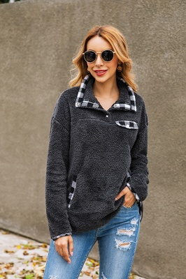 Women's Fall Winter Halp Zip Fuzzy Pullovers_7