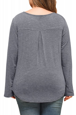 Plain Designs Plus Size Long Sleeves Tunic Blouses_2