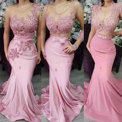 Pink Appliques Lace Mermaid Prom Dresses | Gorgeous Appliques Trumpet Evening Dress_2