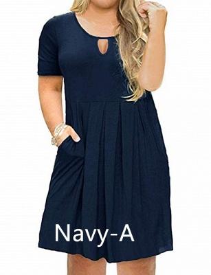 Plus Size Keyhole Neckline Simple Knee Length Dresses with Pockets_6