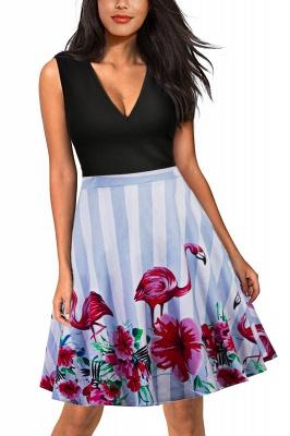 V-neck Sleeveless Above Knee Patchwork Dress_2
