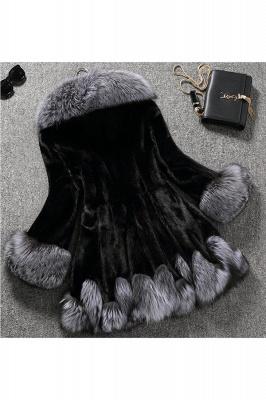 Women's Fashion Hooded White Fox Fur Coat_2