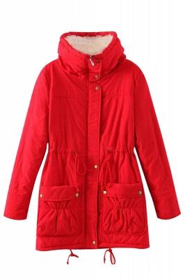 Women's Fashion Hunt Lamb Wool Collar Parka Coat_22