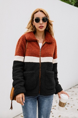 Women's Winter Multi Color Patchwork Faux Shearling Coat_9