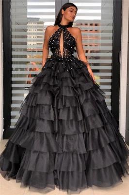 Stunning Halter Keyhole Sheer Top Sleeveless Layers Prom Dresses_1