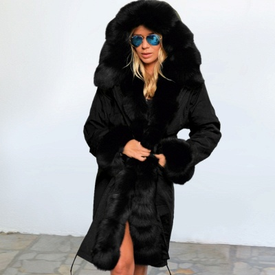 Premium Fur Trimmed Parka Coat with Faux Fur Hood_37