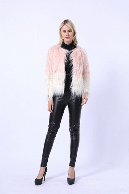 Women's Lovely Pink Faux Fur Duster Coat_1