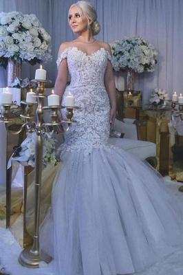 Glamorous Off-the-Shoulder Sweetheart Long Mermaid Lace Wedding Dress_2