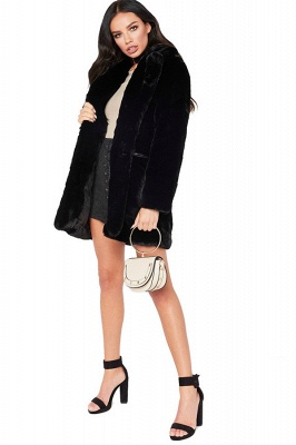 Yellow Stick Up Neckline Medium Long Fuzzy Coat_7