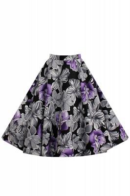 Retro A-line Floral?Printed Short Skirt_6