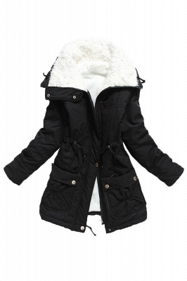 Women's Fashion Hunt Lamb Wool Collar Parka Coat_10