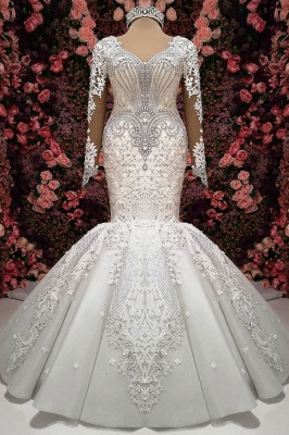 Charming Crystals Mermaid Bridal Gowns    Long Sleeves Chapel Train Wedding Dresses_2