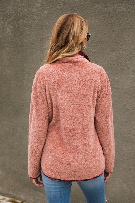 Women's Fall Winter Halp Zip Fuzzy Pullovers_12