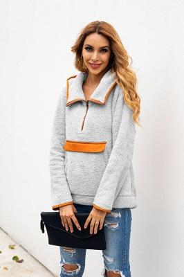 Women's Fall Winter Halp Zip Fuzzy Pullovers With Pockets_14