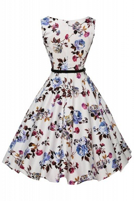 Sleeveless Belted Floral Printed Short Dress_12
