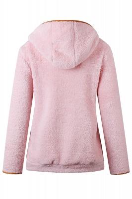 Women's Fall Winter Halp Zip Fuzzy Pullovers With Pockets_1