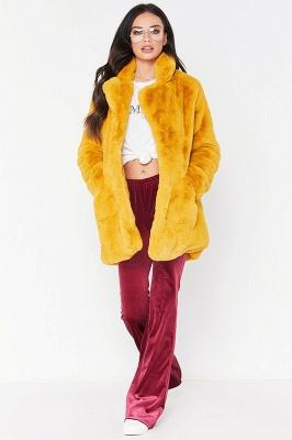 Yellow Stick Up Neckline Medium Long Fuzzy Coat_10