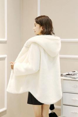 Black Cape Type Hooded Faux Fur Coat_14
