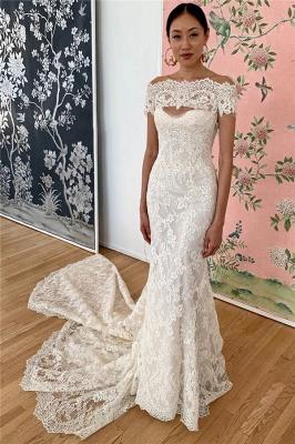 Gorgeous Off the Shoulder Sweep Train Keyhole Mermaid Lace Wedding Dresses_1