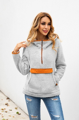 Women's Fall Winter Halp Zip Fuzzy Pullovers With Pockets_11