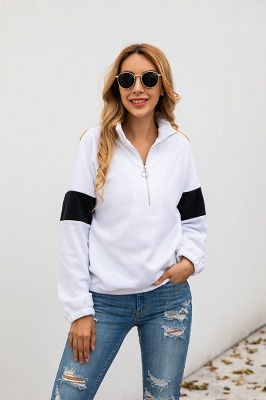 Women's Winter Patchwork Halp Zip Fuzzy Pullovers_10