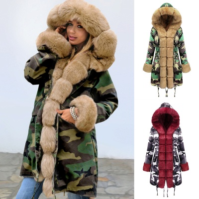 Camo Military Premium Fur Trim Parka Coat with Faux Fur Hood_41