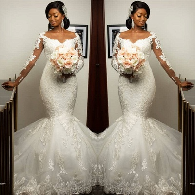 Form-Fitting Long Sleeves Applique Mermaid Wedding Dresses | Gorgeous Trumpet Bridal Gown_2