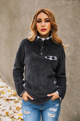 Women's Fall Winter Halp Zip Fuzzy Pullovers_8