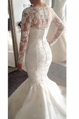 Glamorous Long Sleeves Lace Mermaid Wedding Dresses_3