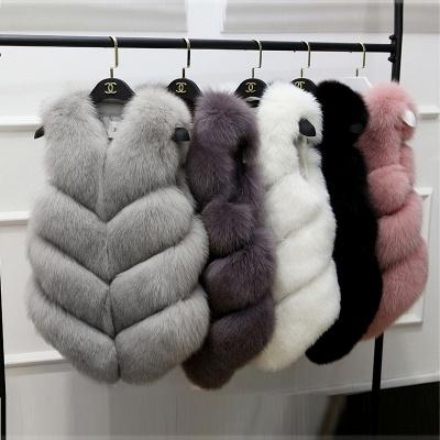 Grey Collarless Layered Fox Fur Gilet_8