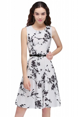 Sleeveless Belted Floral Printed Short Dress_1