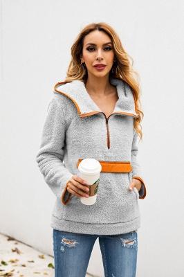 Women's Fall Winter Halp Zip Fuzzy Pullovers With Pockets_10