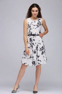Sleeveless Belted Floral Printed Short Dress_15