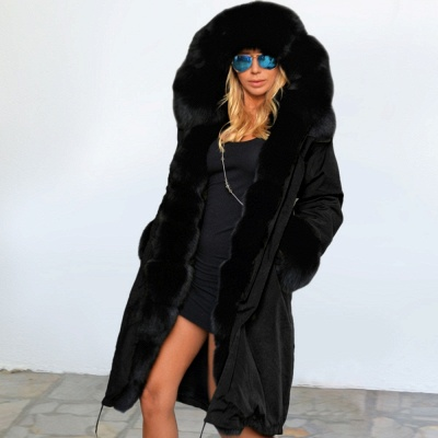 Premium Fur Trimmed Parka Coat with Faux Fur Hood_30