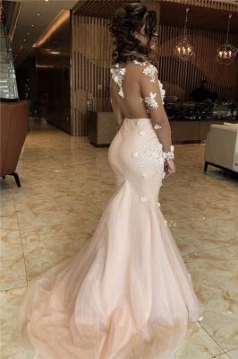 Sheer Long Sleeves Appliques Mermaid Lace Prom Dresses | Elegant Trumpet Formal Dresses with Flowers_2