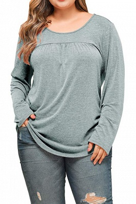 Plain Designs Plus Size Long Sleeves Tunic Blouses_5