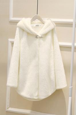 Black Cape Type Hooded Faux Fur Coat_19
