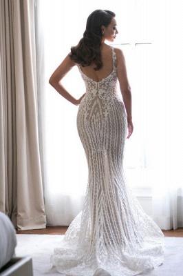 Glamorous Spaghetti Straps Sleeveless Sexy Mermaid Lace Appliques Wedding Dress_3