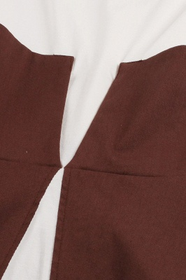 1950S Belted Brown and White Patchwork Retro Dress_28