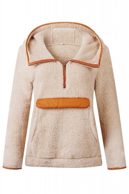 Women's Fall Winter Halp Zip Fuzzy Pullovers With Pockets_2