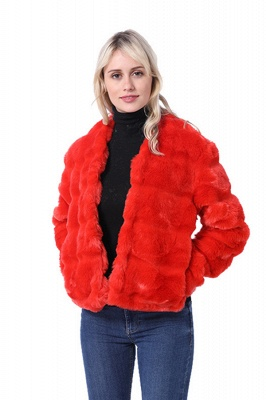 Red Tiered Faux Fur Coat with Full Fur Collar and Cuffs_3