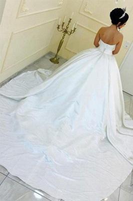Sleek Cathedral Train Ribbon Sweetheart Puffy Sleeveless Satin Wedding Dresses_3