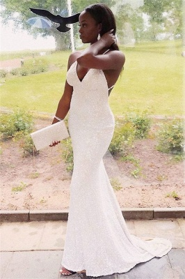 Glittering Spaghetti Straps V-neck Criss-Cross Straps Sequined Prom Dresses_1
