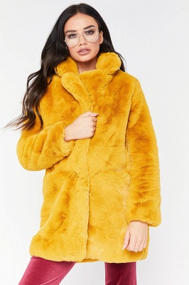 Yellow Stick Up Neckline Medium Long Fuzzy Coat_11