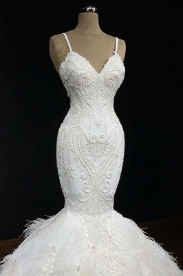 Elegant Spaghetti-Straps Fur Appliques Sexy Mermaid Wedding Dress_1
