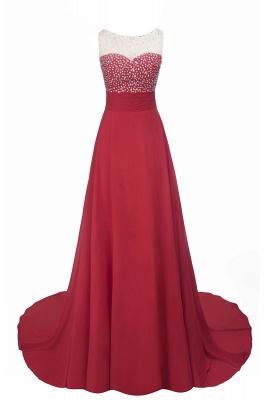 Cheap Grape A-line Sleeveless Sweep Train Prom Dress_7
