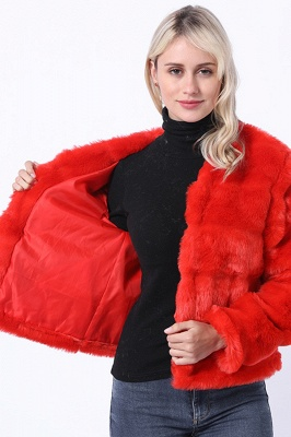 Red Tiered Faux Fur Coat with Full Fur Collar and Cuffs_6