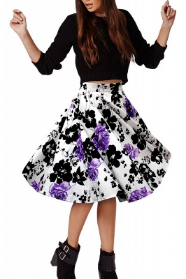 Retro A-line Floral?Printed Short Skirt_10