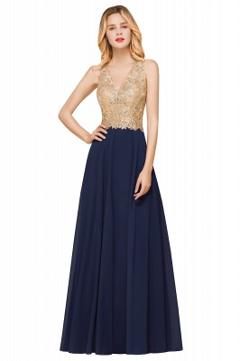 Cheap Chiffon Appliques Long Prom Dress | Affordable Floor Length A-line Evening Dresses_5