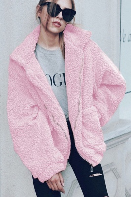 Thick Oversized Faux Shearling Coat with Zipper_10